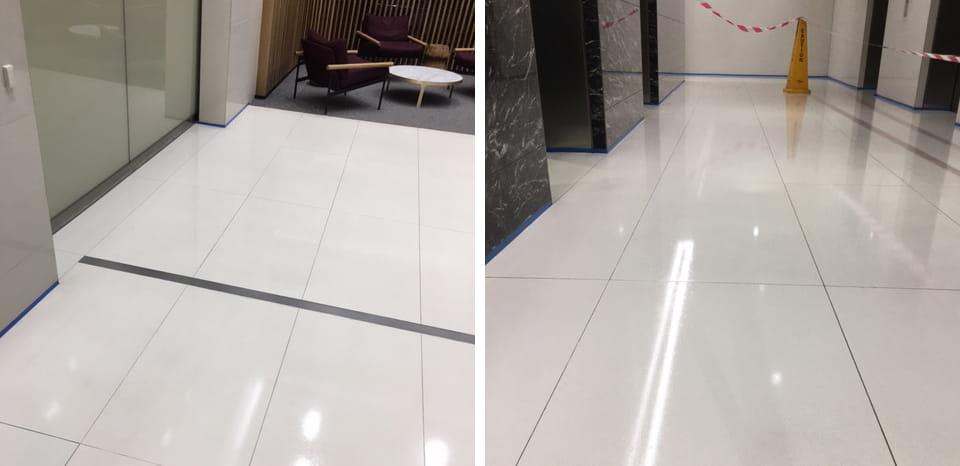Large ceramic tile floor