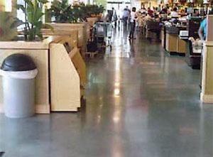 Medium shine floor in a restaurant