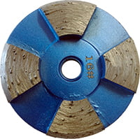 Grey-brown disk with 5 blue spokes