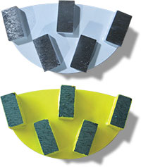 Yellow and light blue grinder segments