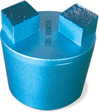 Blue cylinder with two cubes on top