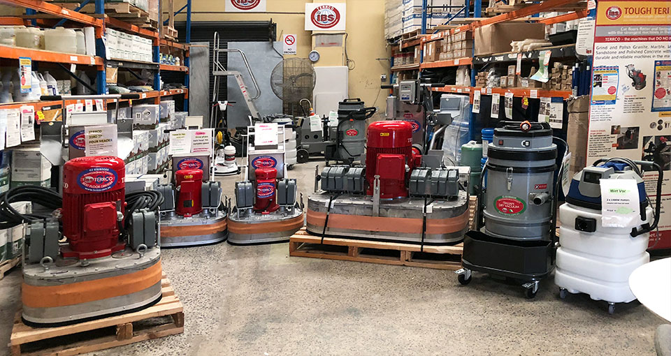 Concrete polishing machinery and products at IBS warehouse