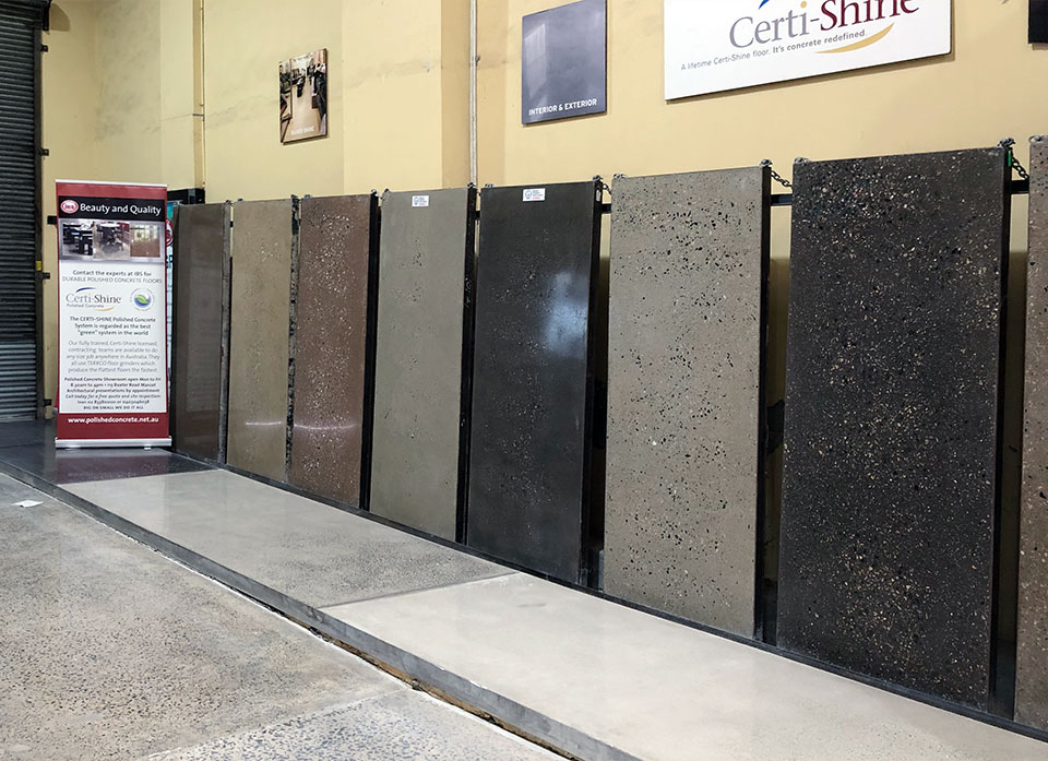 Example slabs of polished concrete